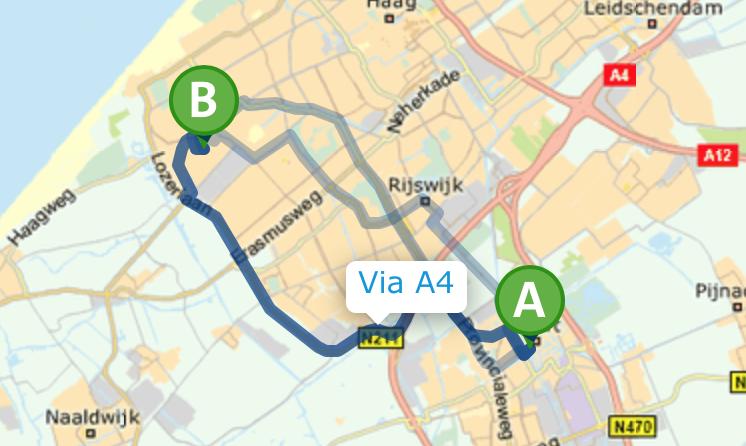 Route met de auto