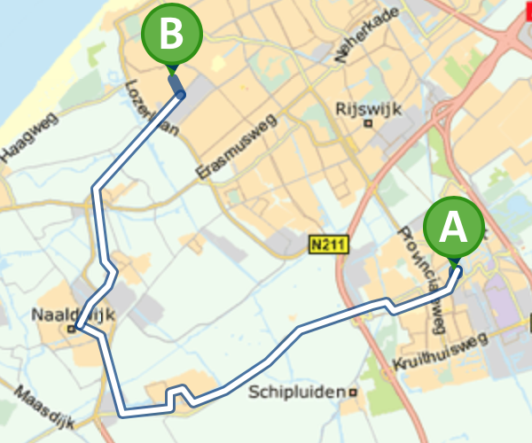 Route met de bus
