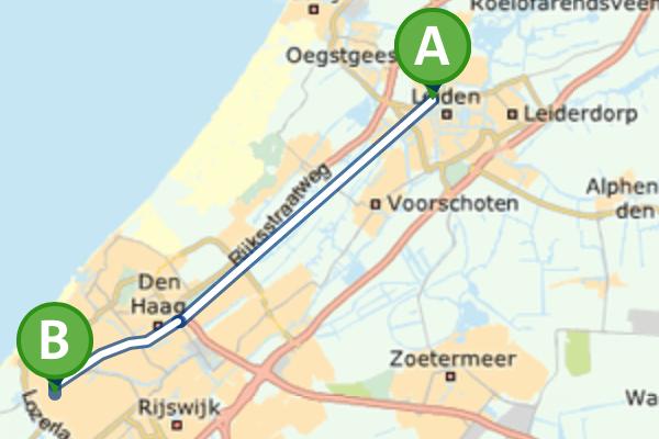 Route met de trein en bus