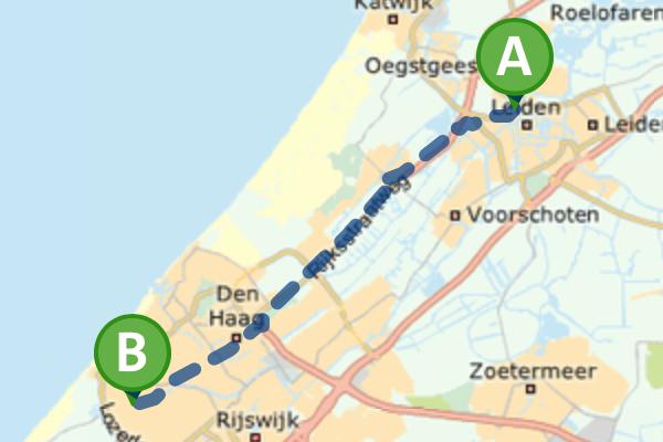 Route met de fiets